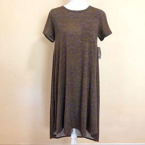 Lularoe XS Carly Brown Tye Dye Dress NEW Casual
